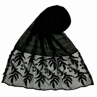 Premium Designer Leaf Cotton Stole- Black