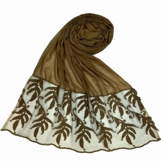 Premium Designer Leaf Cotton Stole- Gingerbread Brown