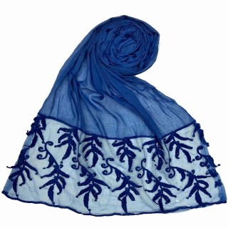Premium Designer Leaf Cotton Stole- Royal Blue