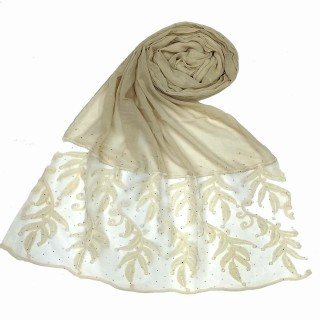 Premium Designer Leaf Cotton Stole - White