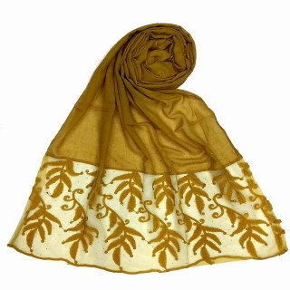 Premium Designer Leaf Cotton Stole- Yellow