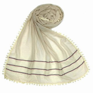 Designer Cotton Three Liner Hijab | White