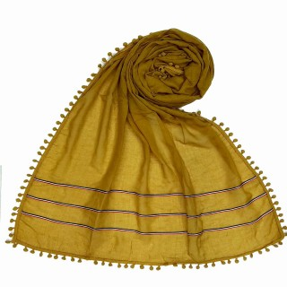 Designer Cotton Three Liner Hijab- Yellow