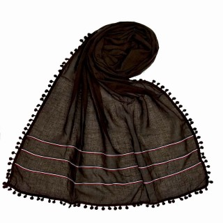 Designer Cotton Three Liner Hijab- Wooden Brown