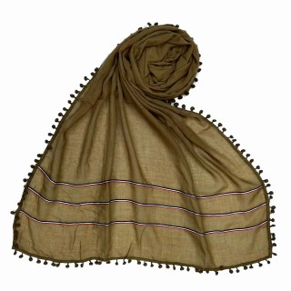 Designer Cotton Three Liner Hijab- Tawny Brown