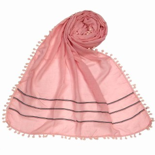 Designer Cotton Three Liner Hijab- Baby Pink