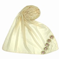 Designer cotton one sided Hijab- White