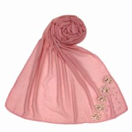 Designer cotton one sided hijab- Pink