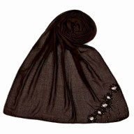 Designer cotton one sided hijab  - Brown
