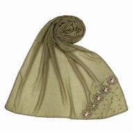 Designer Cotton one sided hijab- Tawny Brown