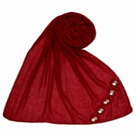 Designer cotton one sided hijab - Maroon