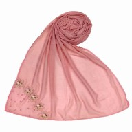 Designer cotton one sided hijab- Puce Pink