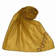 Designer cotton one sided hijab- Yellow