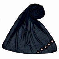 Designer cotton one sided hijab- Oxford Blue