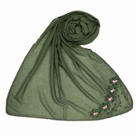 Designer cotton one sided hijab- Green