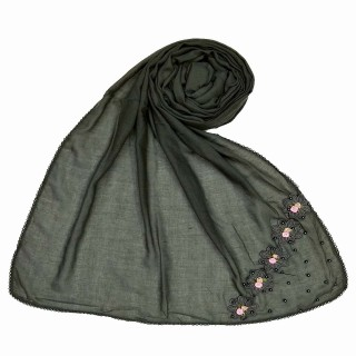 Designer cotton one sided hijab- Grey