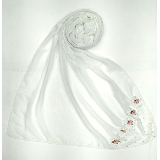 Designer cotton one sided hijab- Milky White