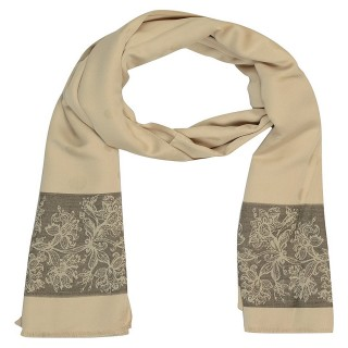 Premium Silk Border Stole-Cream