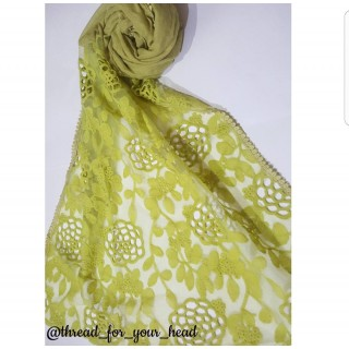 Cotton Lace Stole- Light Green