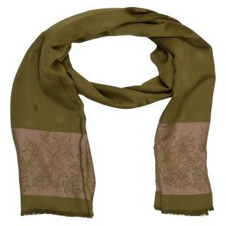 Premium Silk Border Stole-Green Color