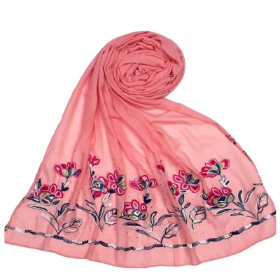 Designer Ari Diamond Cotton Stole - Baby Pink