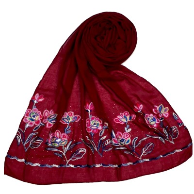Designer Ari Diamond Cotton Stole- Maroon