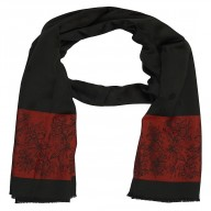 Premium Silk Border Stole-Black Color