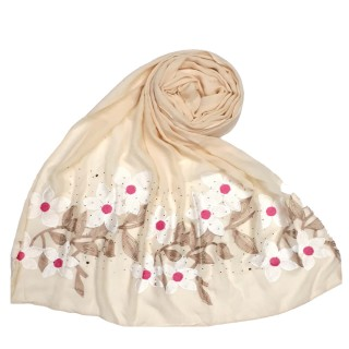 Premium Ari diamond cotton stole- Cream