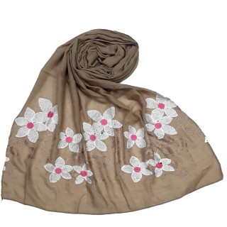 Designer Ari diamond cotton stole - Light Brown