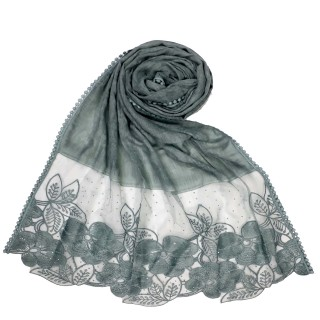 Designer Diamond Cotton Flower Hijab - Green