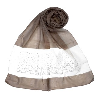 Diamond Studded Tissue Hijab - Brown