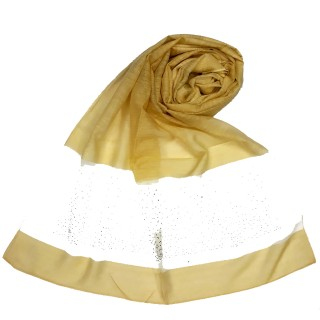 Designer Diamond Studded Tissue Hijab - Mustard Yellow
