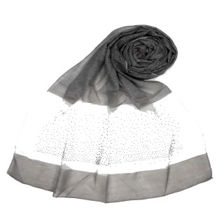 Designer Diamond Studded Tissue Hijab - Grey