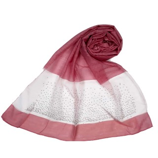 Designer Diamond Studded Tissue Hijab - Rouge Pink