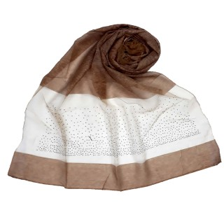 Designer Diamond Studded Tissue Hijab - Wooden Brown