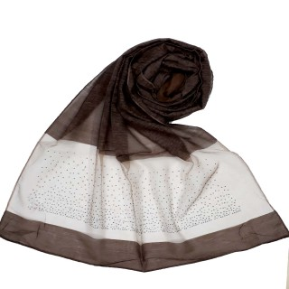 Designer Diamond Studded Tissue Hijab - Dark Brown