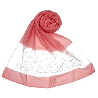 Designer Diamond Studded Tissue Hijab - Punch Pink