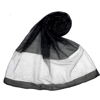 Designer Diamond Studded Tissue Hijab - Black