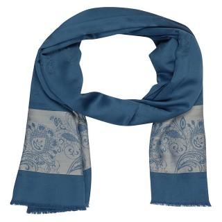 Premium Silk Border Stole- Blue
