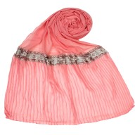 Designer lace crush stole - Baby Pink