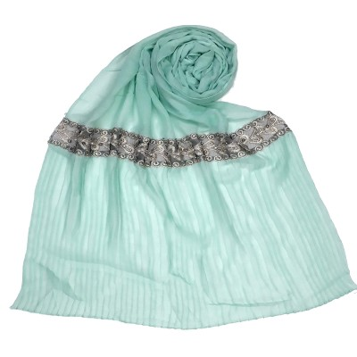 Designer lace crush stole - Mint Green
