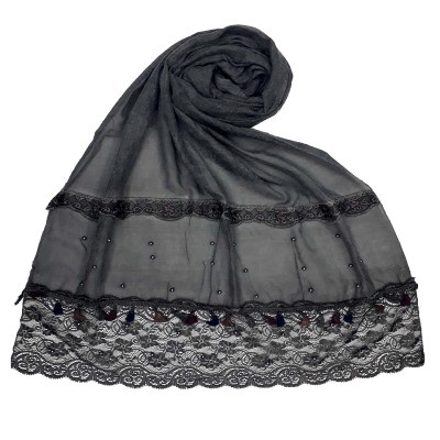 Designer Double Lace Hijab - Black