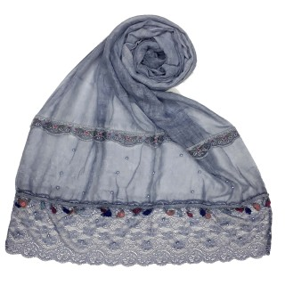 Designer Double Lace Hijab - Blue