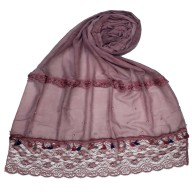 Designer Double Lace Hijab - Maroon