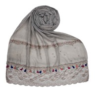 Designer Double Lace Hijab - Brown