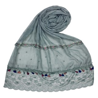 Designer Double Lace Hijab - Green