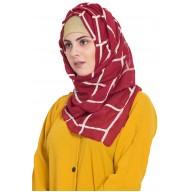 Designer cotton Grid hijab- Maroon