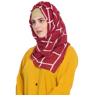 Designer cotton Grid hijab- Maroon