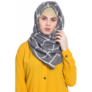Designer cotton Grid hijab- Grey
