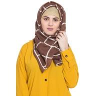 Designer cotton Grid hijab- Brown